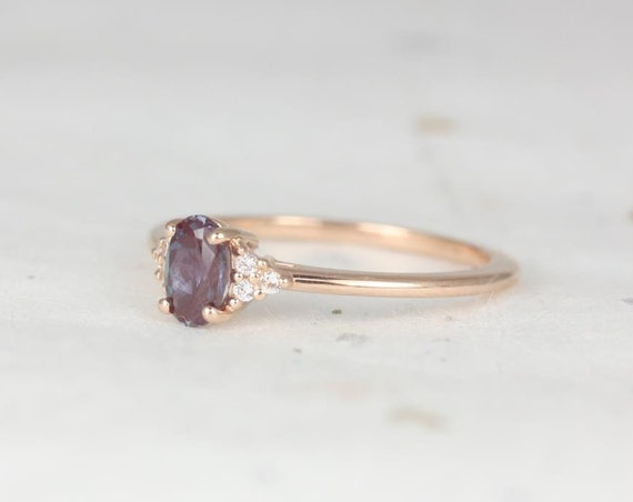 Juniper 6x4mm 14kt Rose Gold Alexandrite Sapphire Dainty Oval Cluster 3 Stone Stack Ring,Rosados Box