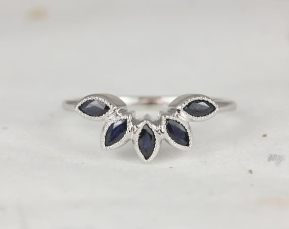 Rosados Box Petunia 14kt Solid White Gold Marquise Blue Sapphire WITH Milgrain Tiara Nesting Ring