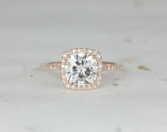 Rosados Box Catalina 7.5mm 14kt Rose Gold Cushion Forever One Moissanite Diamond Halo Engagement Ring