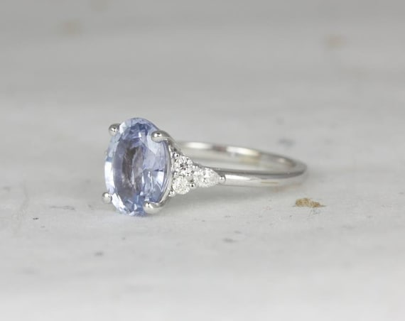 Ready to Ship Cinderella 2.99cts 14kt White Gold Oval Icy Lavender Blue Sapphire Diamond Cluster 3 Stone Oval Engagement Ring,Rosados Box