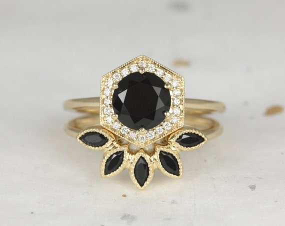 Willis 7mm & Petunia 14kt Gold Black Onyx Diamonds Art Deco Hexagon Halo WITH Milgrain Wedding Set Rings,Rosados Box