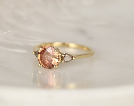 1.67ct Ready to Ship Elise 14kt Solid Gold Salmon Peach Champagne Sapphire Cognac Diamond Round 3 Stone Unique Engagement Ring,Rosados Box