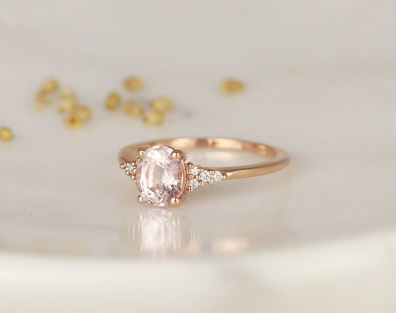 1.43cts Ready to Ship Maddy 14kt Rose Gold Peach Sapphire Diamond Cluster 3 Stone Oval Engagement Ring,Rosados Box