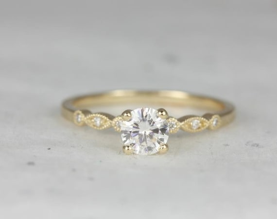 Ready to Ship Gale 5mm Round Forever One Moissanite Diamonds WITH Milgrain Art Deco Solitaire Engagement Ring,14k Yellow Gold,Rosados Box