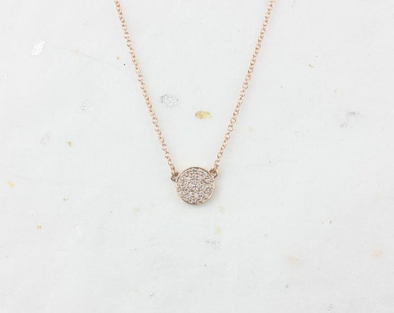 Diskco 7mm 14kt Rose Gold Diamond Floating Pave Disk Dainty Necklace,Rosados Box