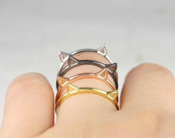 Cat Ears Ring,Cat Parent,Cat Mom,14kt Gold & Silver Gold Plated,Meow Ring,Rosados Box
