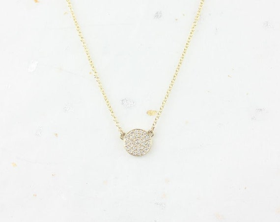 Ready to Ship Rosados Box Diskco 7mm 14kt Yellow Gold Diamond Floating Pave Disk Dainty Necklace