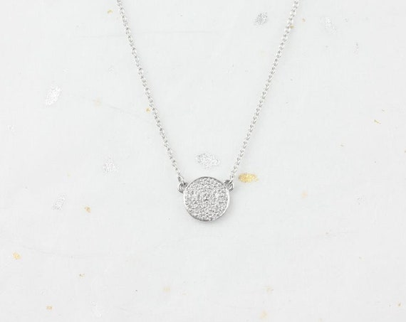 Ready to Ship Rosados Box Diskco 7mm 14kt White Gold Diamond Floating Pave Disk Dainty Necklace