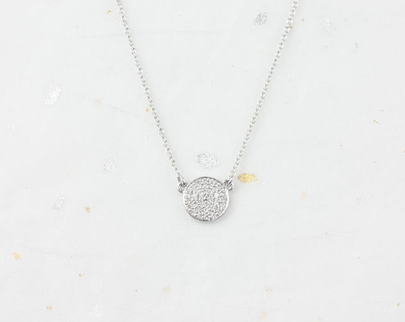 Ready to Ship Rosados Box Diskco 7mm 14kt White Gold Diamond Pave Floating Disk Necklace