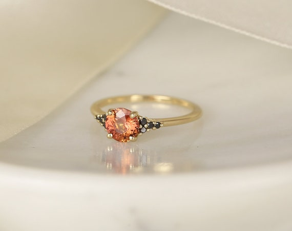 1.04ct Ready to Ship Malia 14kt Yellow Gold Flame Orange Red Sapphire Black Diamonds Dainty Round 3 Stone Cluster Ring,Rosados Box