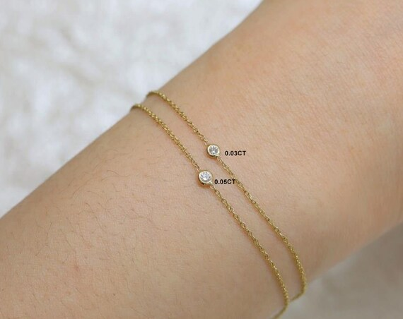 Dainty Diamond Bracelet,Petite Solitaire Diamond Bracelet,14kt Yellow Gold,Brooke,Rosados Box