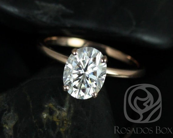 2ct Oval Forever One Moissanite Thin Skinny Engagement Ring,14kt WHITE Gold,Ready to Ship Dakota 9x7mm,Rosados Box