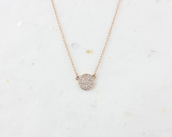 Ready to Ship Rosados Box Diskco 7mm 14kt Rose Gold Diamond Pave Floating Disk Necklace