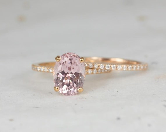 Rosados Box Ready to Ship Hillary 3.54cts 14kt Rose Gold Oval Blush Champagne Spinel and Diamond Wedding Set Rings