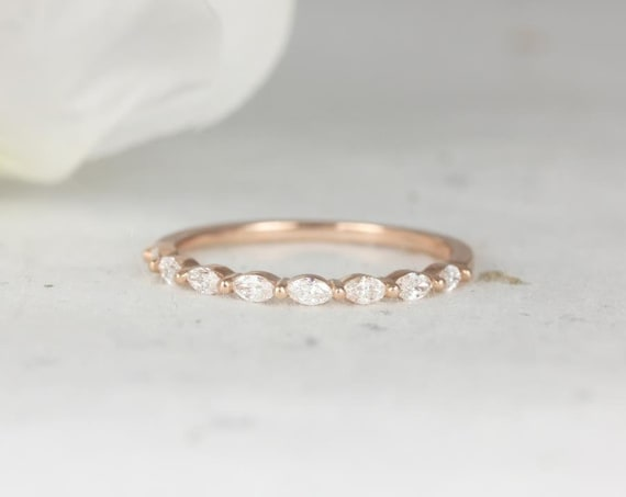 Ultra Petite Leona 14kt Rose Gold Marquise Diamond Floating Single Prong HALFWAY Eternity Band Ring,Rosados Box