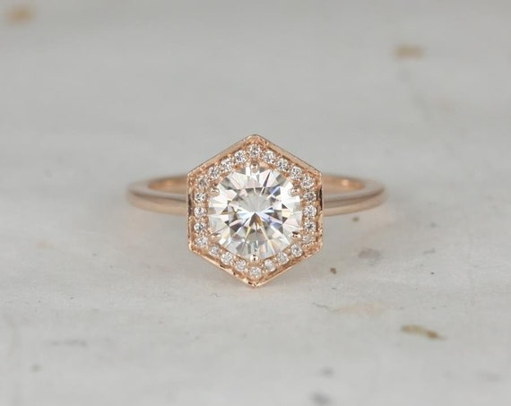 1.25ct Willis 7mm 14kt Rose Gold Forever One Moissanite Diamonds Art Deco Hexagon Halo WITHOUT Milgrain Engagement Ring,Rosados Box