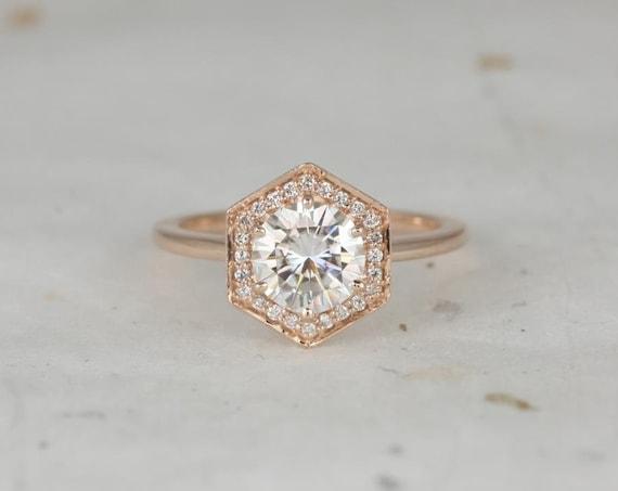 Rosados Box Willis 7mm 14kt Rose Gold Round Forever One Moissanite Diamonds Hexagon Halo WITHOUT Milgrain Engagement Ring