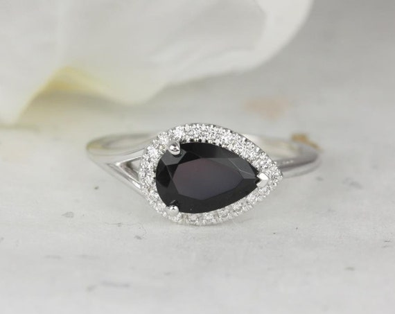 9x6mm Pear Black Onyx Diamonds Split Shank Dainty Halo Serpent Engagement Ring,14kt Solid White Gold,LeStrange 9x6mm,Rosados Box