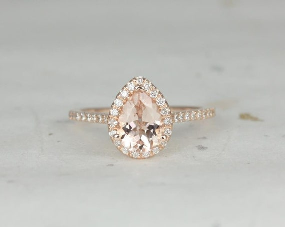 DIAMOND FREE Tabitha 8x6mm 14kt Rose Gold Morganite White Sapphire Dainty Micro Pave Pear Halo Engagement Ring,Rosados Box