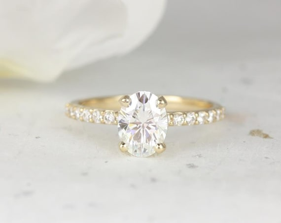 1.50ct Sonia 8x6mm 14kt Gold Forever One Moissanite Diamonds Dainty Non-Cathedral Accent Oval Solitaire Engagement Ring,Rosados Box