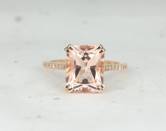 Rosados Box Cosette 11x9mm 14kt Rose Gold Radiant Morganite and Diamonds Fleur De Lis Cathedral Engagement Ring
