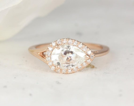 1.50ct Pear Forever One Moissanite Diamond Split Shank East West Pave Halo Engagement Ring,14kt Solid Rose Gold,LeStrange 9x6mm,Rosados Box