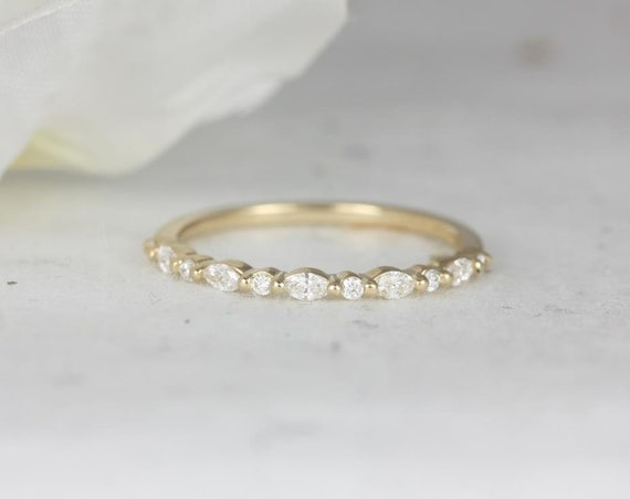 Ultra Petite Cher 14kt Gold Marquise Round Diamond Floating Single Prong HALFWAY Eternity Band Ring,Rosados Box