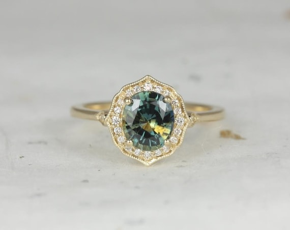 Rosados Box Ready to Ship Mae 1.69cts 14kt Yellow Gold Oval Lightning Ocean Teal Sapphire and Diamond Halo WITH Milgrain Engagement Ring