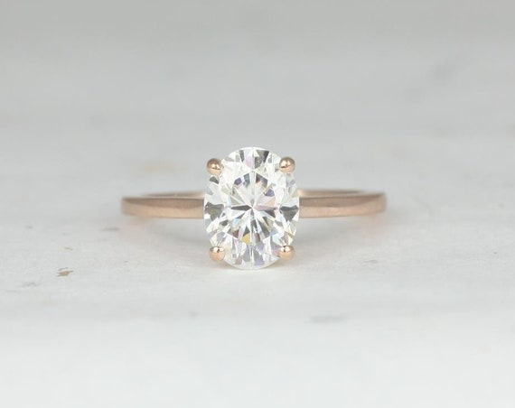 2ct Oval Forever One Moissanite Thin Low Cathedral Solitaire Engagement Ring. 14kt Solid Rose Gold, Delia 9x7mm. Rosados Box