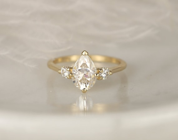 1.50ct Petite Greta 9x6mm 14kt Solid Gold Forever One Moissanite Pear Round 3 Stone Minimalist Dainty Engagement Ring,Rosados Box