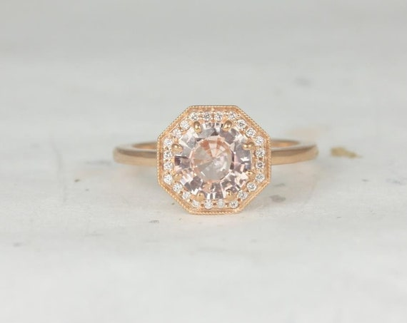 1.59ct Ready to Ship Winona 14kt Rose Gold Round Peach Champagne Diamonds Art Deco Octagon Halo WITH Milgrain Engagement Ring,Rosados Box
