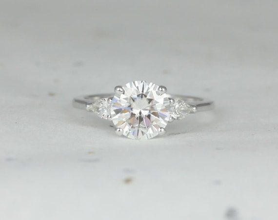 2cts Round Forever One Moissanite Diamond Pear 3 Stone Engagement Ring, 14kt Solid White Gold, Elise 8mm, Rosados Box