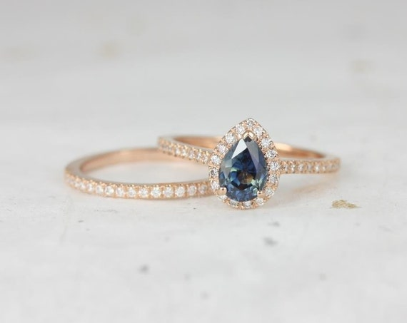 1.08ct Ready to Ship Tabitha 14kt Rose Gold Ocean Teal Sapphire Diamonds Pear Halo Classic Wedding Set Rings,Rosados Box