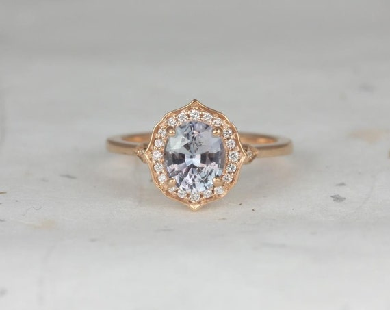 1.51ct Ready to Ship Mae 14kt Rose Gold Icy Lavender Sapphire Diamond Art Deco Unique Oval Halo Engagement Ring,Rosados Box