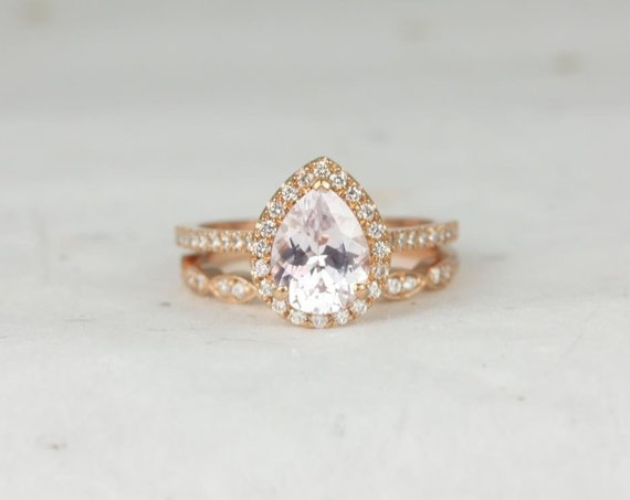 Ready to Ship Tabitha & Christie 14kt Rose Gold Blush Peach Champagne Sapphire Diamonds Halo Wedding Set Rings,Rosados Box