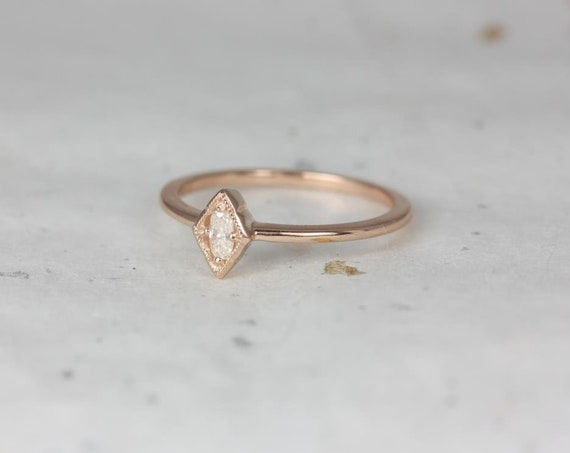 Rosados Box Leanne 14kt Rose Gold Oval Forever One Moissanite Marquise Bezel WITH Milgrain Vintage Ring (S.L.A.Y. Collection)