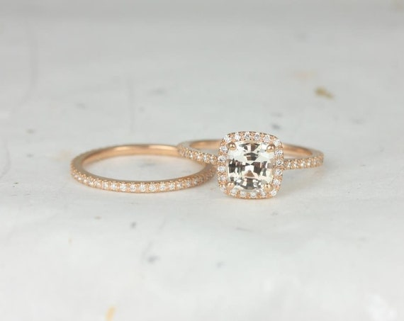 Rosados Box Ready to Ship Catalina 1.72cts 14kt Rose Gold Cushion Icy Peach Sapphire and Diamond Halo Wedding Set
