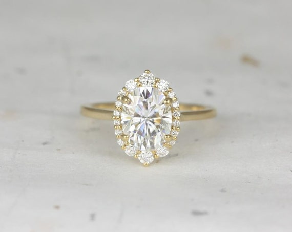 Rosados Box Electra 9x7mm 14kt Yellow Gold Oval Forever One Moissanite Diamonds Shield Graduated Halo Engagement Ring