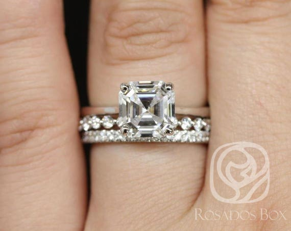 Rosados Box Skinny Denise 8mm, Pte Naomi, & Pernella  14kt White Gold Asscher F1- Moissanite and Diamonds Cathedral TRIO Wedding Set