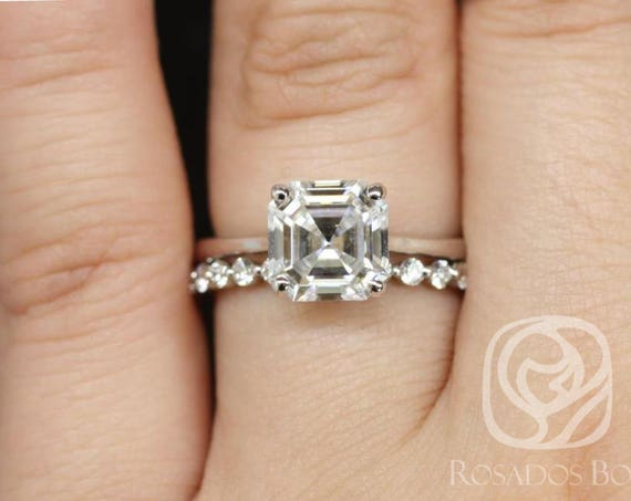Rosados Box Skinny Denise 8mm & Petite Naomi 14kt White Gold Asscher F1- Moissanite and Diamonds Tulip Cathedral Solitaire Wedding Set