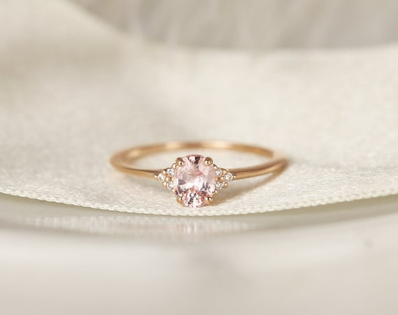 0.69ct Ready to Ship Juniper 14kt Rose Gold Peach Sapphire Diamond Dainty Oval Cluster 3 Stone Ring,Rosados Box