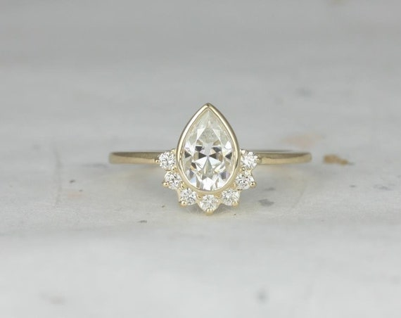 1ct Pear Forever One Moissanite Diamonds Bezel Crescent Half Halo Engagement Ring,14kt Solid Yellow Gold,Oana 8x5mm,Rosados Box