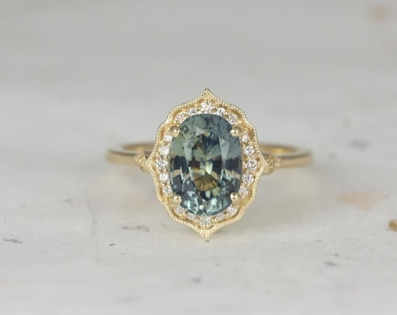 Rosados Box Ready to Ship Mae 2.72cts 14kt Yellow Gold Oval Jungle Teal Sapphire and Diamond Halo WITH Milgrain Engagement Ring
