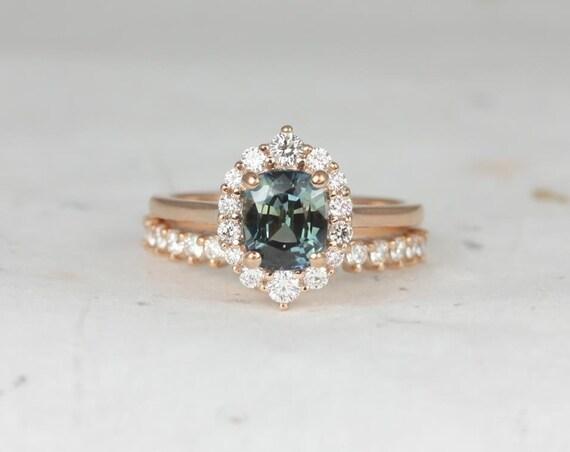 1.70ct Cushion Teal Jungle Green Sapphire Diamond Graduated Halo Wedding Set Rings,14kt Rose Gold,Ready to Ship Eluma 1.70ct,Rosados Box