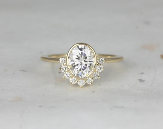 1.50ct Oksana 8x6mm 14kt Gold Forever One Moissanite Diamonds Oval Bezel Crescent Half Halo Unique Engagement Ring,Rosados Box