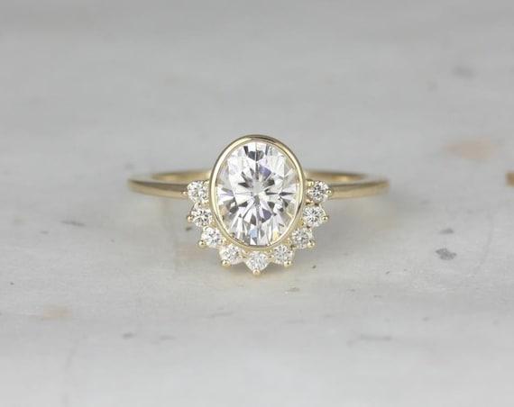 8x6mm Oval Forever One Moissanite Diamonds Bezel Crescent Sunrays Half Halo Engagement Ring,14kt Solid Yellow Gold,Oksana 8x6mm,Rosados Box