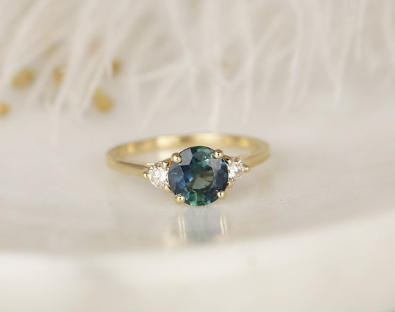 1.53ct Ready to Ship Colette 14kt Solid Gold Ocean Teal Sapphire Diamond Minimalist 3 Stone Round Engagement Ring,Rosados Box