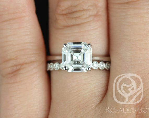 Rosados Box Skinny Denise 8mm & Petite Bubbles 14kt White Gold Asscher Forever One Moissanite Diamonds Tulip Cathedral Solitaire Wedding Set
