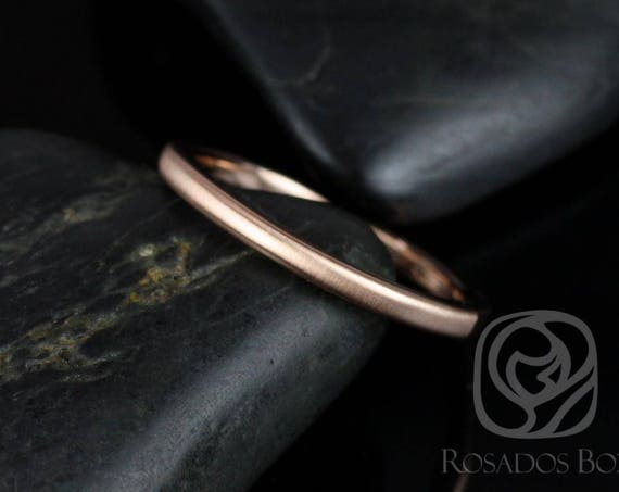 Rosados Box Dax 2mm 14kt Rose Gold Rounded Pipe Matte or High Finish Band (Chic Classics Collection)