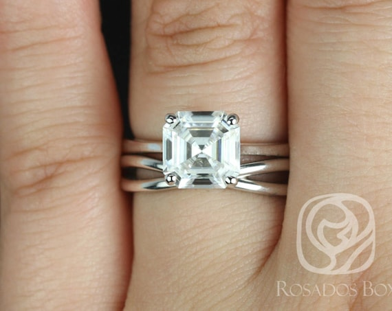 Rosados Box Skinny Denise 8mm & PLAIN Lima 14kt White Gold Asscher F1- Moissanite Tulip Cathedral Solitaire Wedding Set